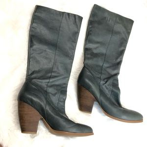 Nine West GORNR heeled boot gray green leather 8.5